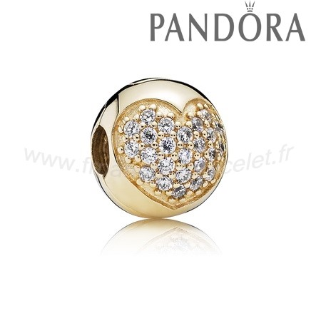 Pandora Soldes Amour Of Ma Life Clip Clear Cz 14K Or