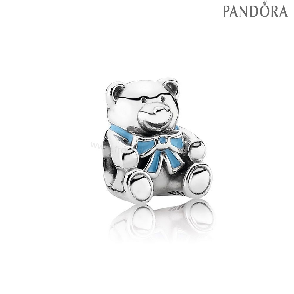 Pandora Soldes Charms Famille C'Est A Boy Teddy Ours Blue Email