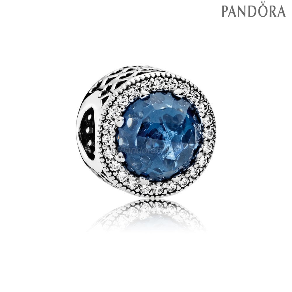 Pandora Soldes Collection Coeurs De Radiant Moonlight Blue Crystal Clear Cz