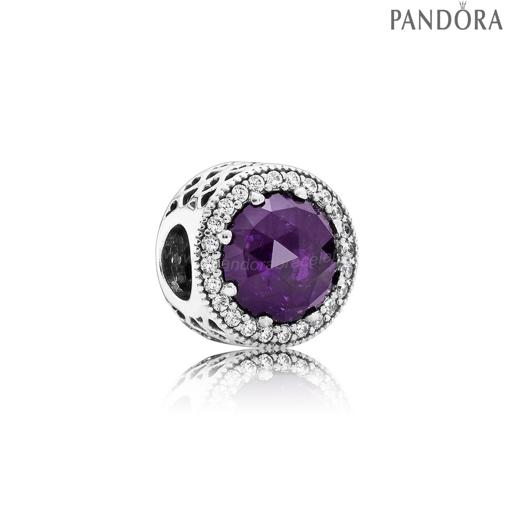 Pandora Soldes Collection Coeurs De Radiant Royal Violet Crystal Clear Cz