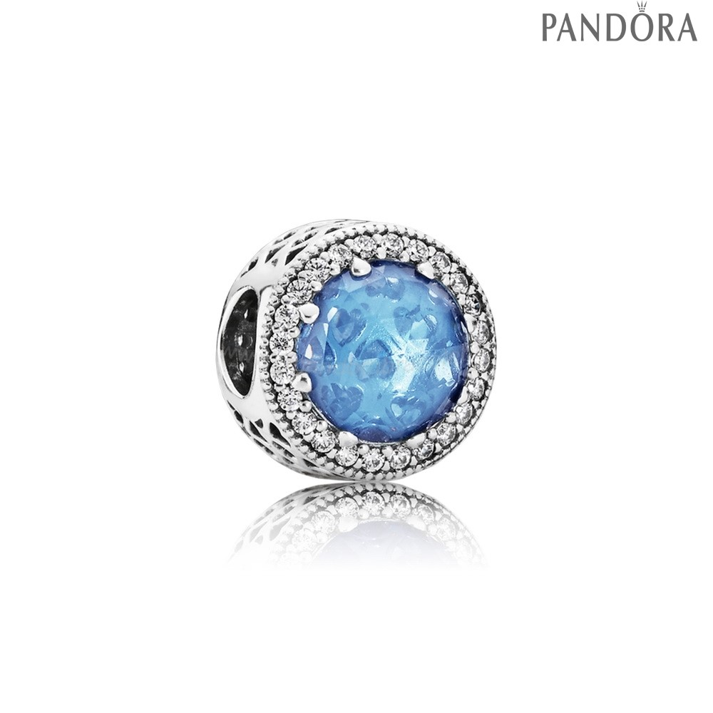 Pandora Soldes Collection Coeurs De Radiant Sky Blue Crystal Clear Cz