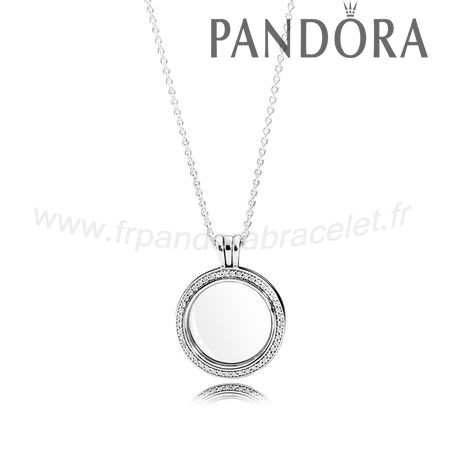 Pandora Soldes Collections Pandora Lockets Mousseux Pandora Medaillon Medium Sapphire Crystal Glass Clear Cz