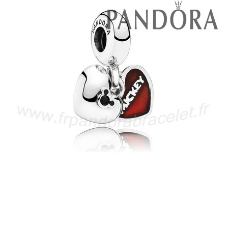 Pandora Soldes Disney Mickey Minnie Dangle Red Enamel