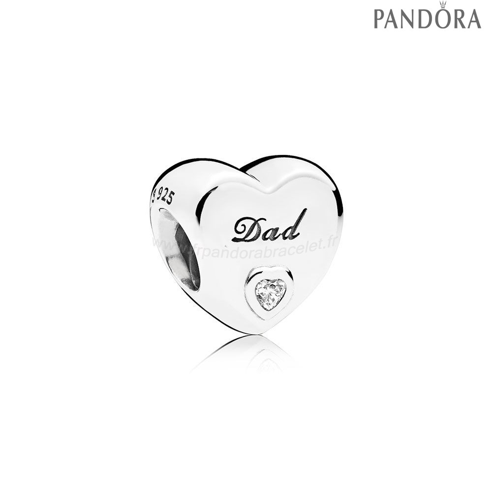 Pandora Soldes Famille Charms Papa Amour Charme Clear Cz