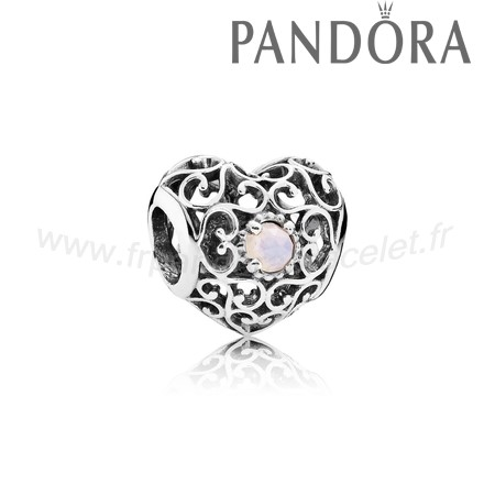 Pandora Soldes Octobre Signeature Coeur Charme Opalescent Rose Crystal