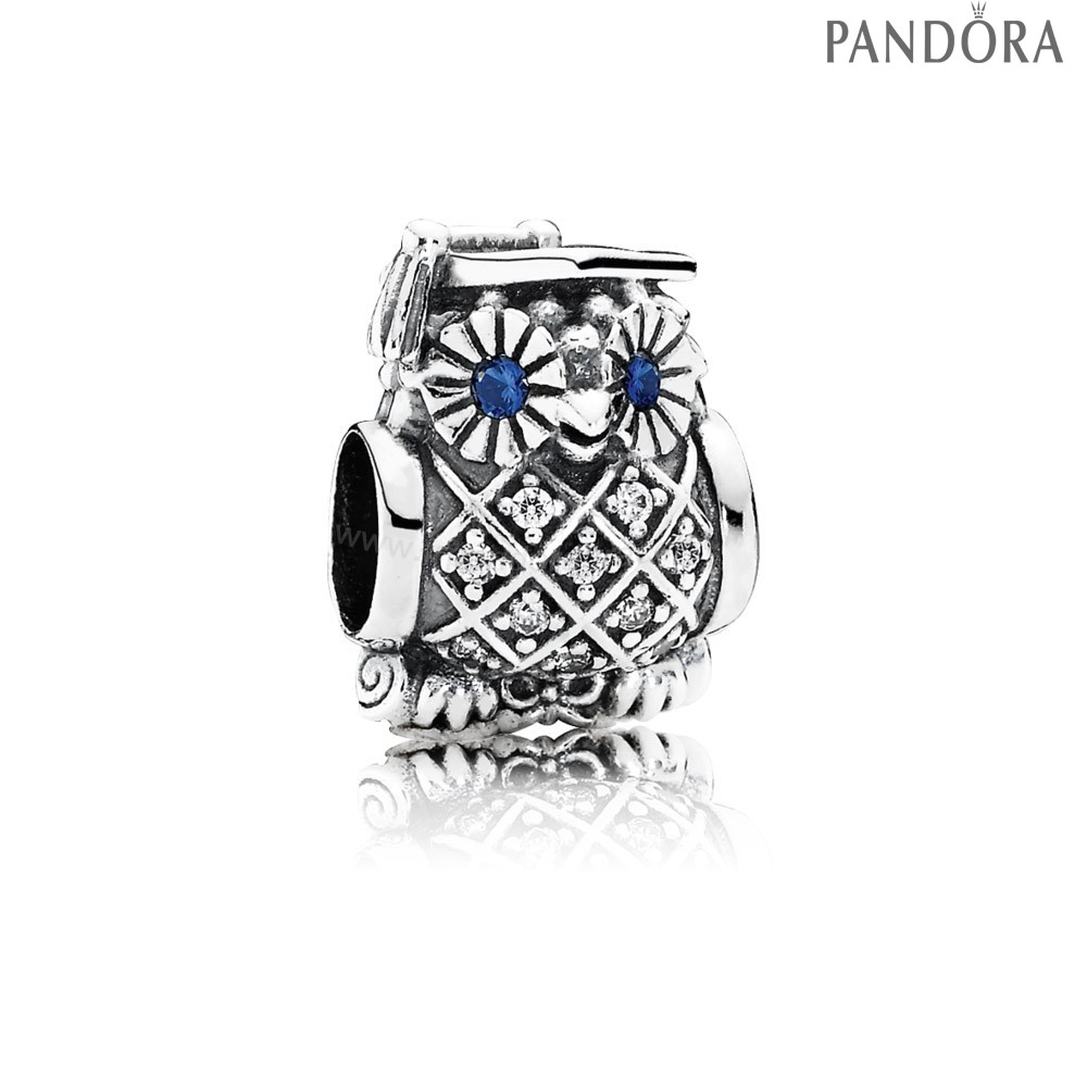 Pandora Soldes Pandora Animaux Charms Diplome Owl Swiss Blue Crystal Clear Cz