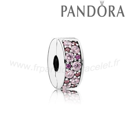 Pandora Soldes Pandora Charms De Couleur Mosaic Brillant Elegance Clip Fancy Rose Fancy Violet Cz