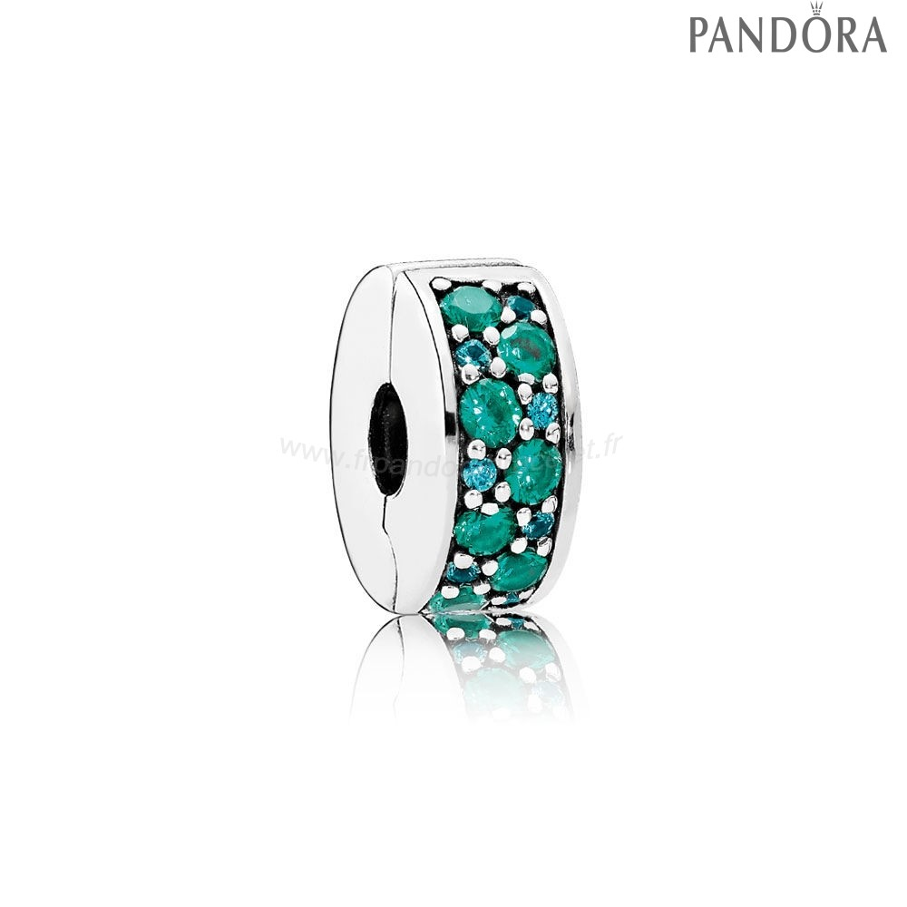Pandora Soldes Pandora Charms De Couleur Mosaique Brillant Elegance Clip Multi Coloured Crystals Teal Cz