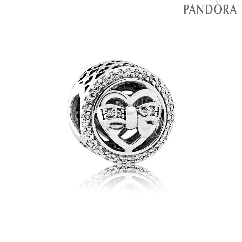 Pandora Soldes Pandora Charms Famille Loving Ties Charm Clear Cz