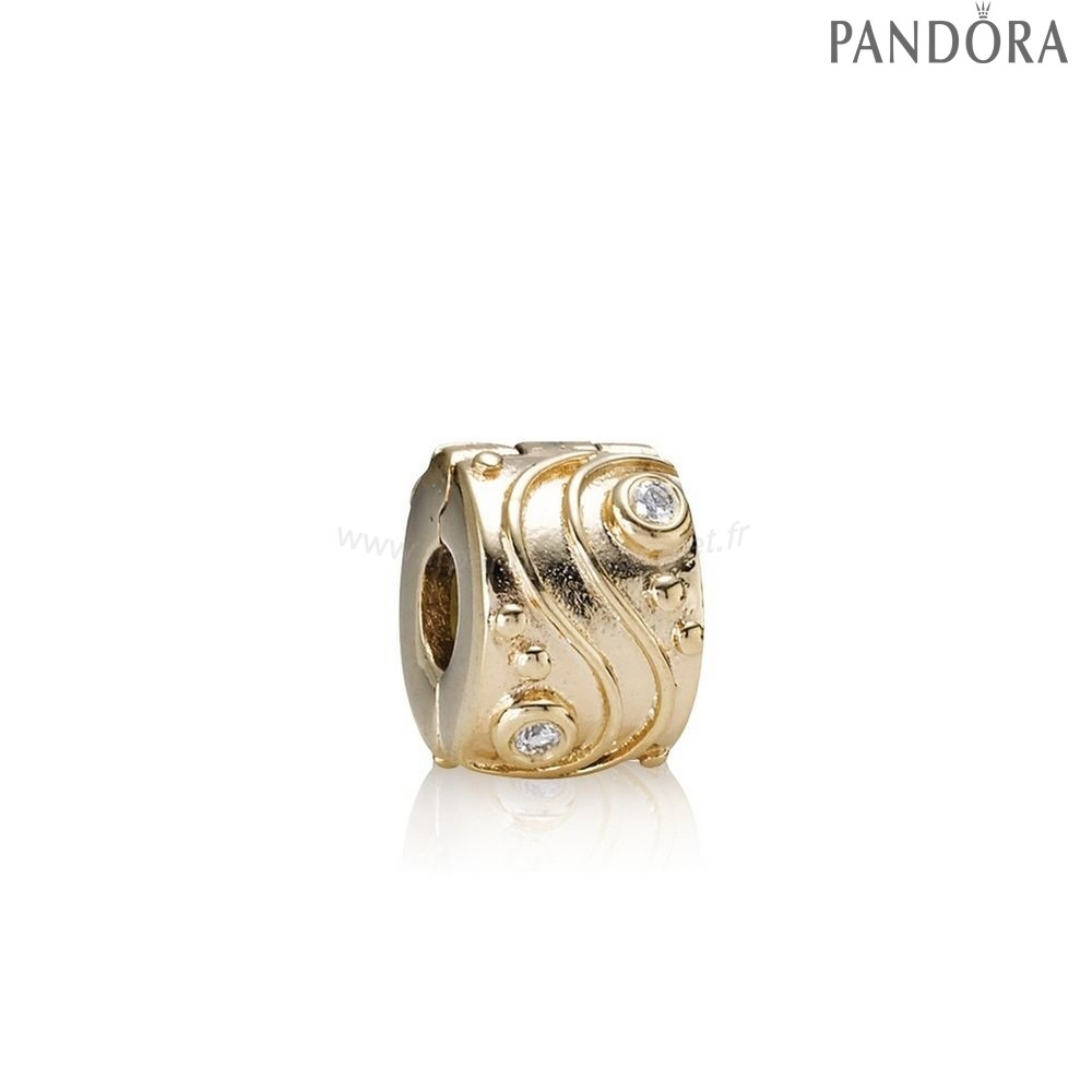 Pandora Soldes Pandora Clips Breloques Babbling Brook Abstract Gold Clip Diamants