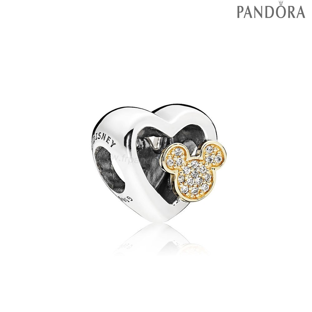 Pandora Soldes Pandora Collection D'Hiver Disney Mickey Minnie Amour Icones Charme Red Clear Cz