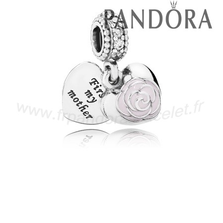 Pandora Soldes Pandora Dangle Breloques Rose Dangle Charm Rose Email Clear Cz