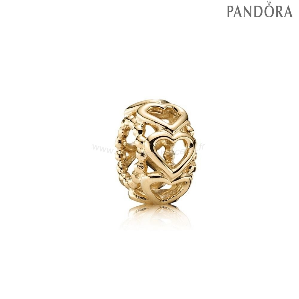 Pandora Soldes Pandora Entretoises Charms Lucky In Amour Coeur Spacer 14K Or
