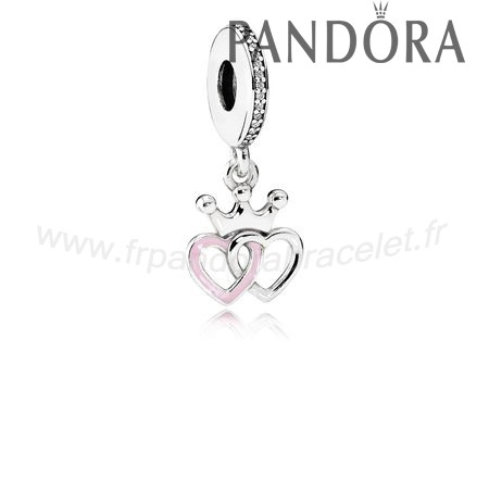 Pandora Soldes Pandora Fairy Tale Charms Crowned Coeurs Dangle Charm Orchid Rose Enamel Clear Cz