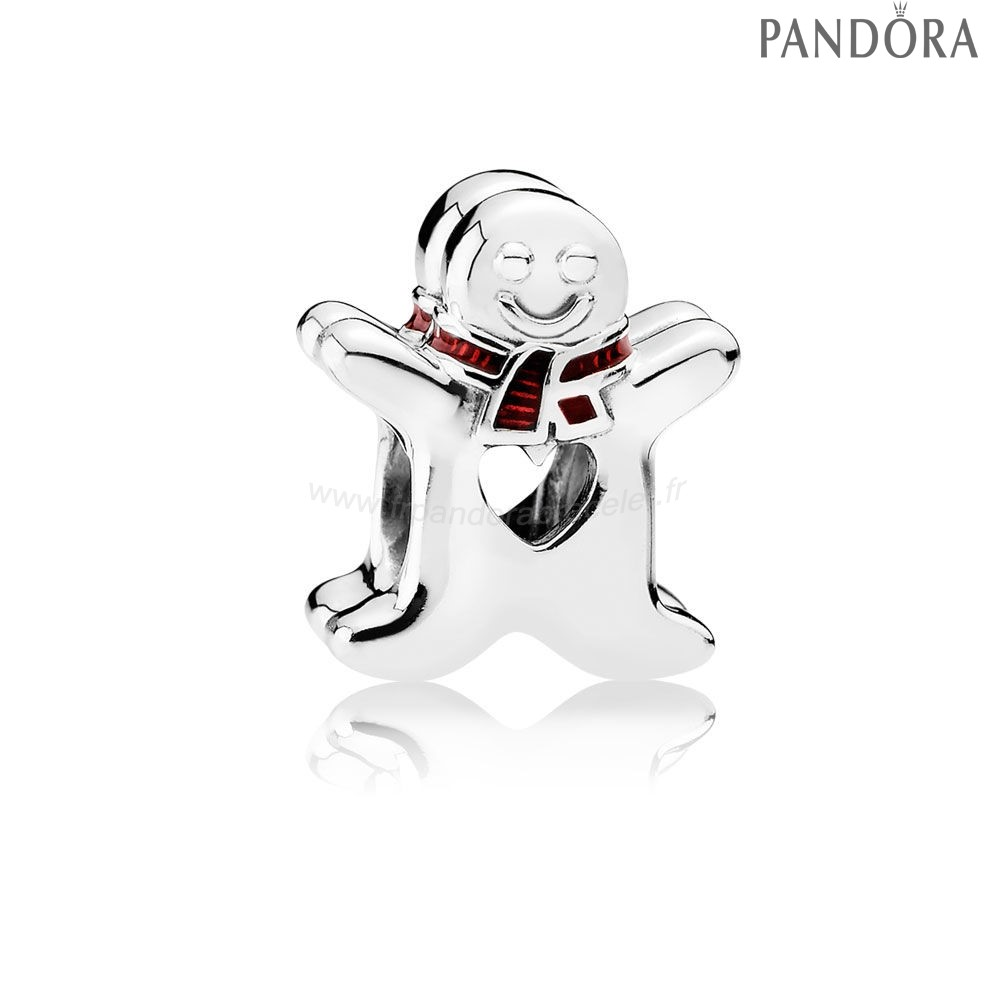 Pandora Soldes Pandora Fetes Charms Noel Sweet Gingerbread Man Charm Translucent Rouge Email