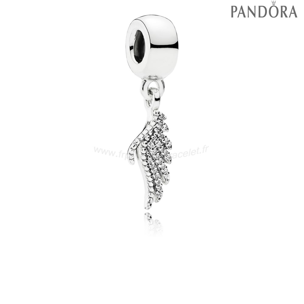 Pandora Soldes Pandora Inspirant Charms Majestueux Feather Dangle Charm Clear Cz