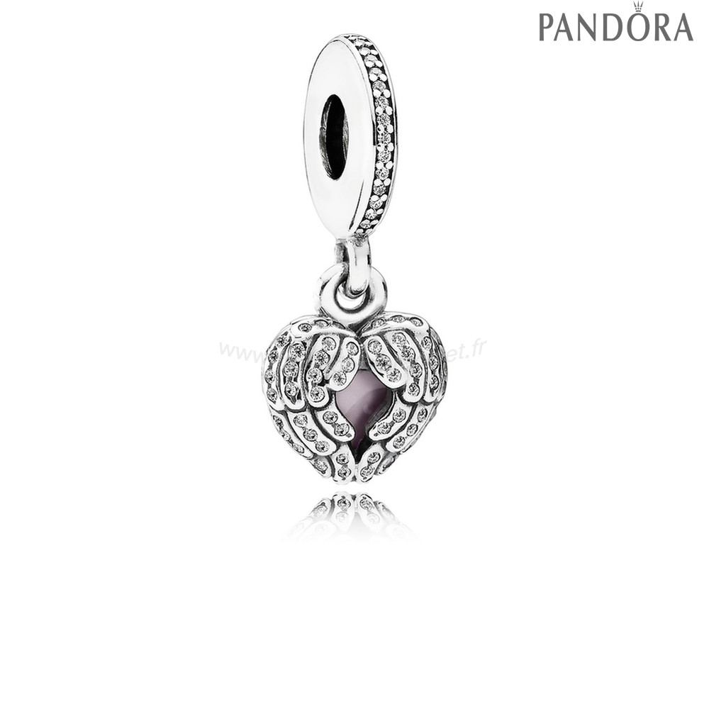 Pandora Soldes Pandora Inspirational Charms Ange Ailes Dangle Charm Clear Cz Rose Email