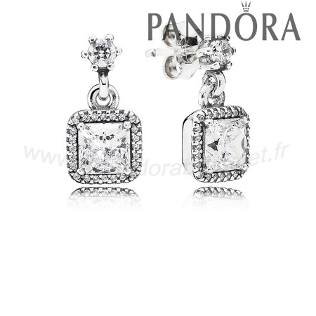 Pandora Soldes Pandora Intemporel Elegance Intemporel Elegance Drop Boucles D'Oreilles Clear Cz