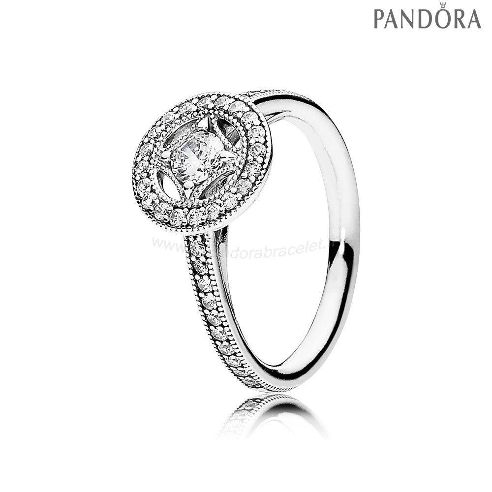 Pandora Soldes Pandora Intemporel Elegance Vintage Allure Bague Clear Cz