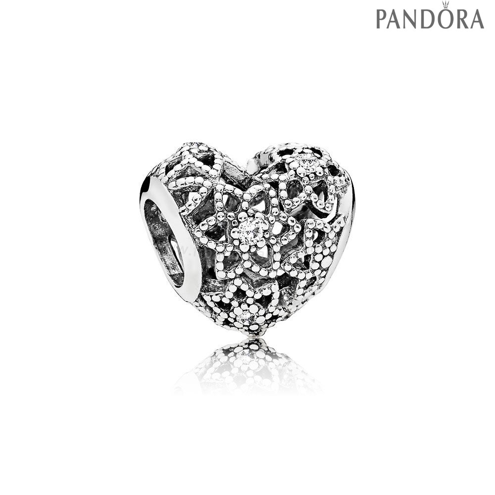 Pandora Soldes Pandora Paillettes Paves Charms Blooming Heart Charm Clear Cz