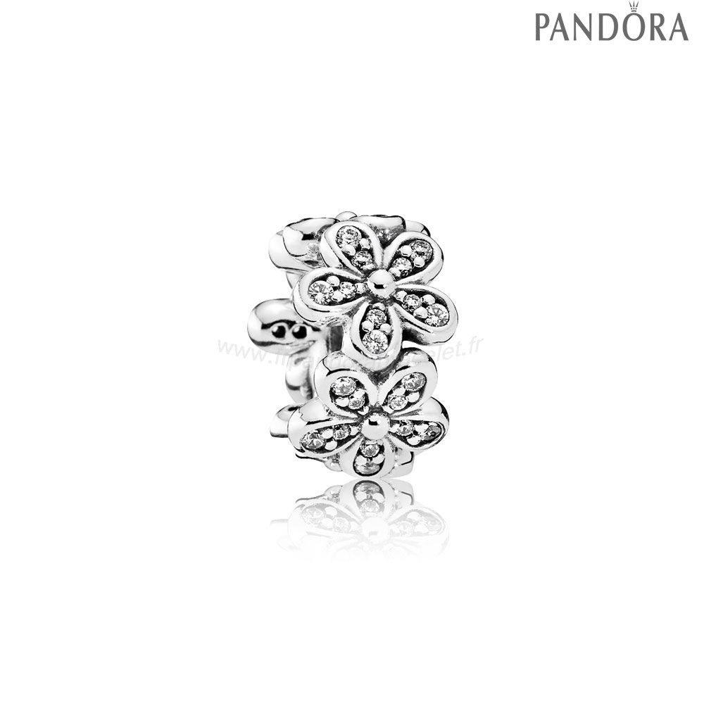 Pandora Soldes Pandora Paillettes Paves Charms Dazzling Daisies Spacer Clear Cz