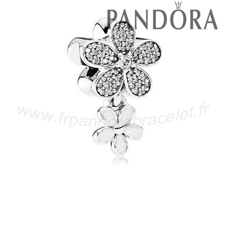 Pandora Soldes Pandora Paillettes Paves Charms Dazzling Daisy Duo Blanc Email Clear Cz