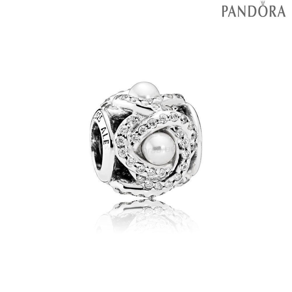 Pandora Soldes Pandora Paillettes Paves Charms Luminous Amour Knot Blanc Crystal Pearl Clear Cz