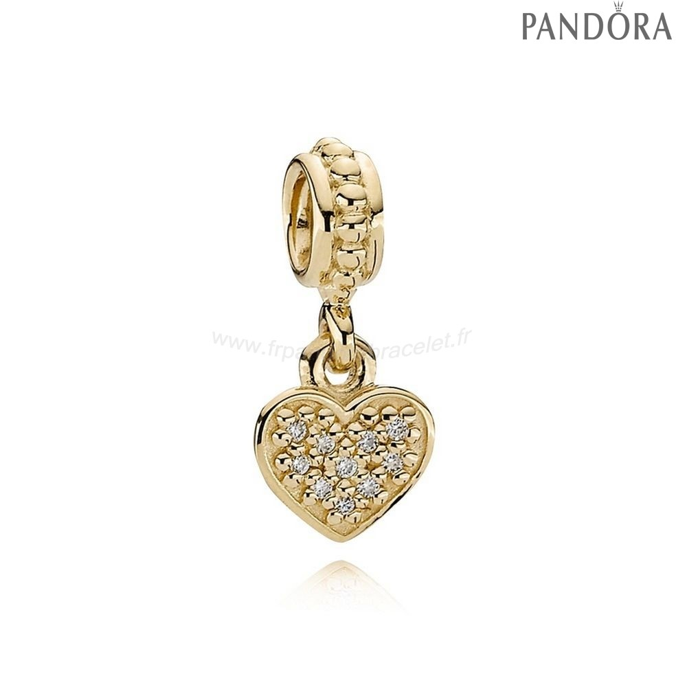 Pandora Soldes Pandora Paillettes Paves Charms Pave Pendentif Coeur Dangle Charm 14K Or Diamond