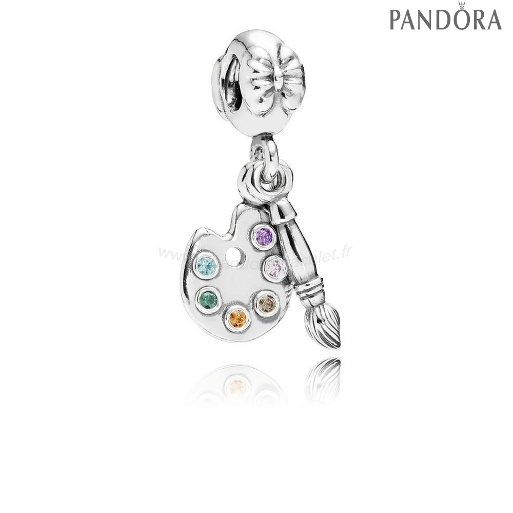 Pandora Soldes Pandora Passions Charms Musique Arts Artiste Palette Dangle Charm Multi Colour Cz