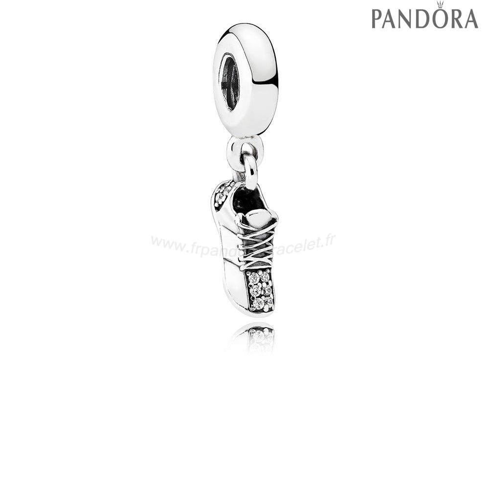 Pandora Soldes Pandora Passions Charms Sports Loisirs Course Chaussure Dangle Charm Clear Cz