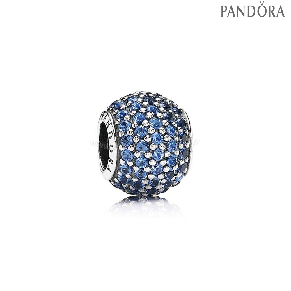 Pandora Soldes Pandora Sparkling Paves Charms Pave Lumieres Charm Blue Crystal