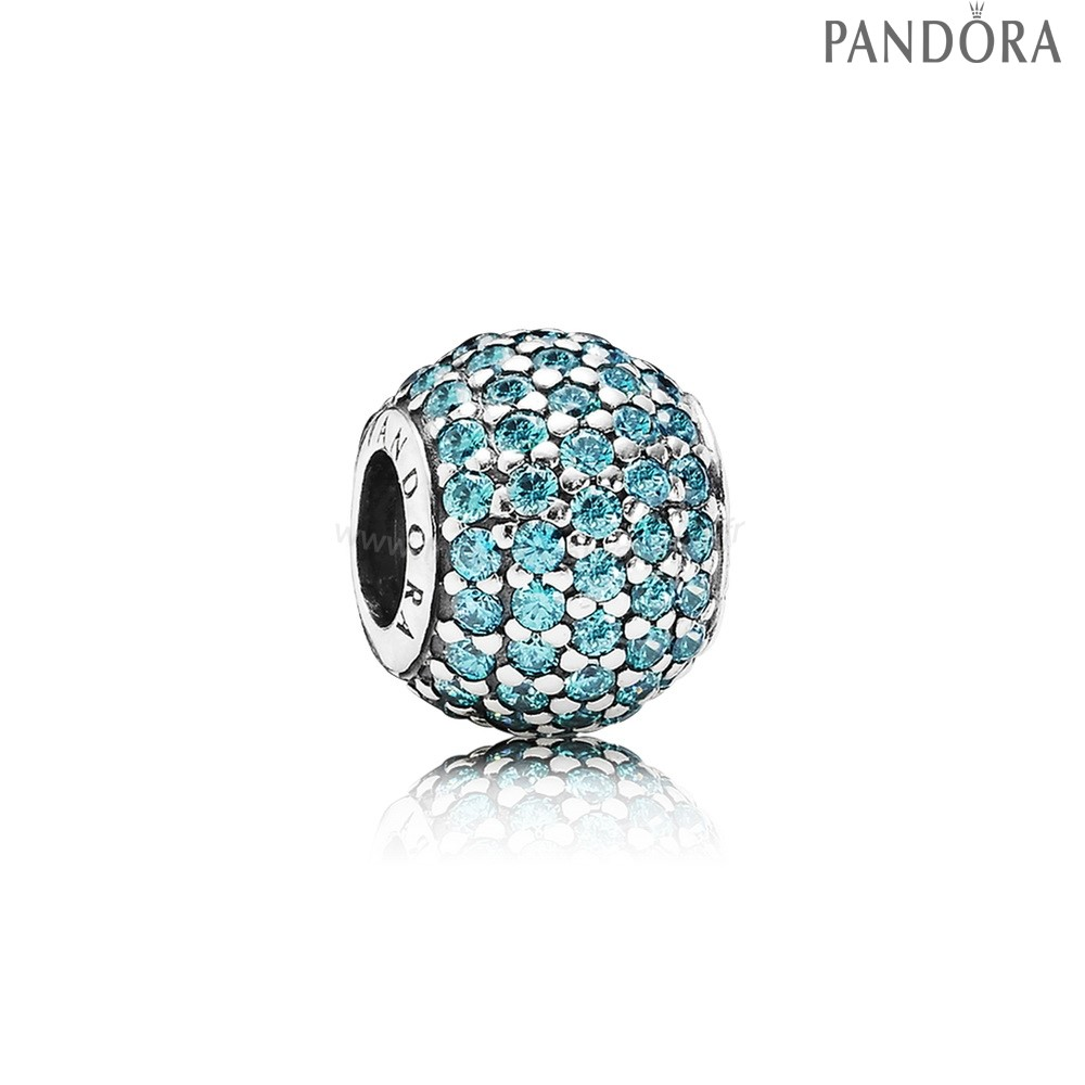 Pandora Soldes Pandora Sparkling Paves Charms Pave Lumieres Charm Teal Cz