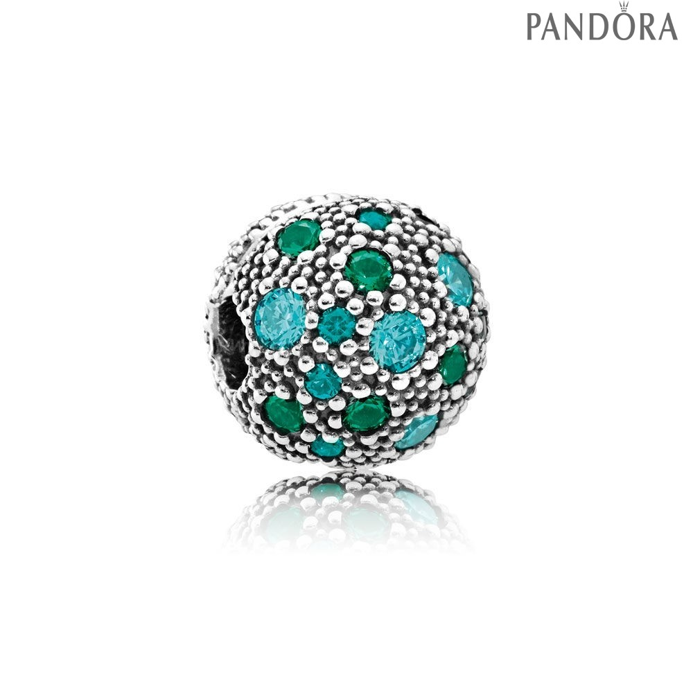 Pandora Soldes Pandora Toucher De Couleur Charms Cosmic Etoiles Multi Coloured Crystals Teal Cz